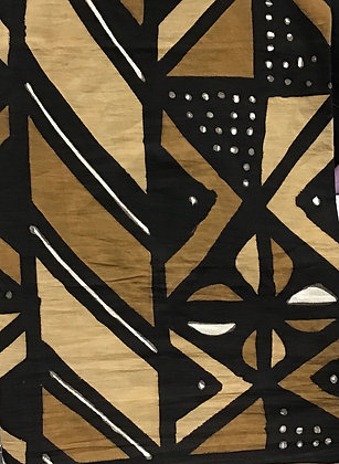 African Mud Cloth PRINT Fabric - #74, beige, tan, black, white, dots, lines
