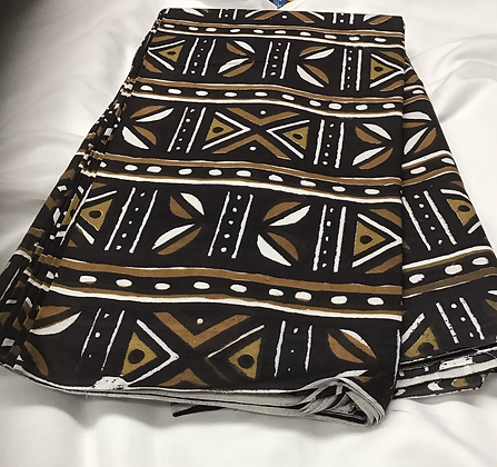 African Print Fabric, mudcloth, brown, black, white
