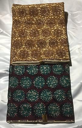 African Print Fabric, purple, teal, brown