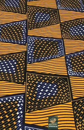 African Wax Print Fabric, blue, gold, white