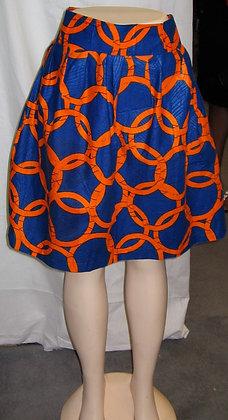 Orange & Blue African Print Skirt