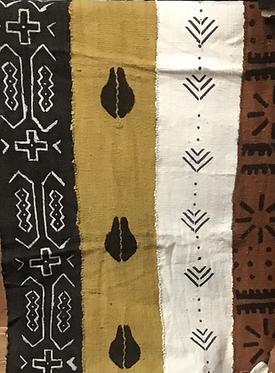 Hand Woven Mud Cloth (11) black and white, gold with cowrie shell in black