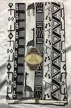 African Retro Style Bogolan Print Fabric, black, white