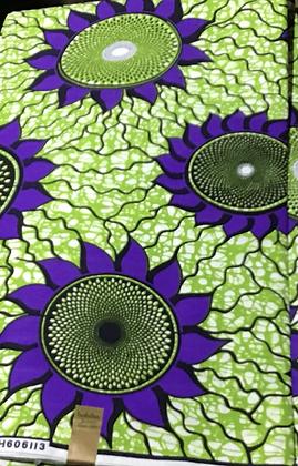 African Print Fabric, purple, green, blue, sunflower