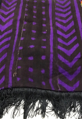 Purple Hand woven  Mud Cloth Scarve with Black Lining