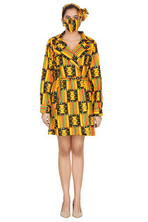 African Wax Kente Print Jackets, head wrap and mask, ONE SIZE FITS MOST