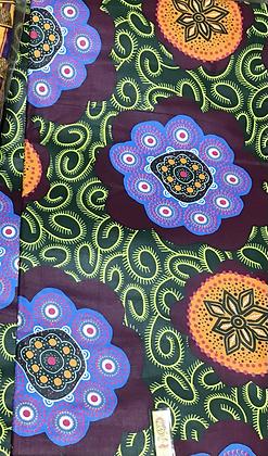African Print Fabric, purple, green, blue, flower