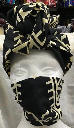Black and Off White African Print Head Wrap and Full Face Mask
