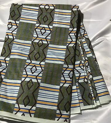 African Print Fabric, gold, yellow, blue, green, Aztec