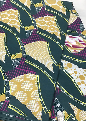 Woodin Print Fabric, green, gold, fuschia, yellow