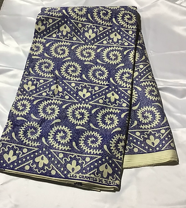 African Print Fabric, blue and creme