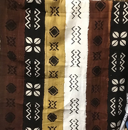 Hand Woven Mud Cloth (52) white, brown, gold, black