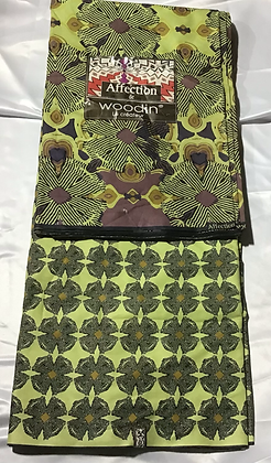 Woodin Affection Fabric, purple, lime green, brown, flowers