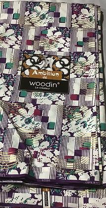 Woodin Ambition Fabric, purple, green, gold