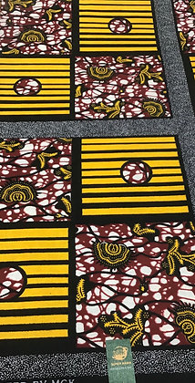 African Wax Print Fabric, gold, red, black, squares