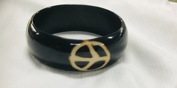 Wood Bracelet, with peace sign