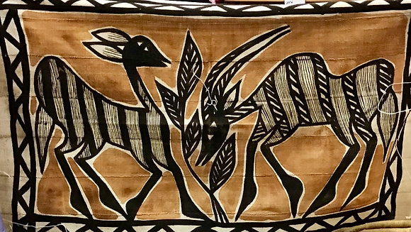 Mud Cloth Wall Hanging - Two Deers