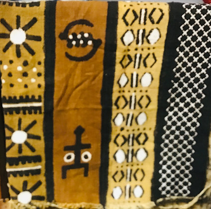 Hand Woven Mud Cloth (25) brown, gold, black, white