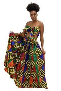 African Rainbow Print Fabric Maxi