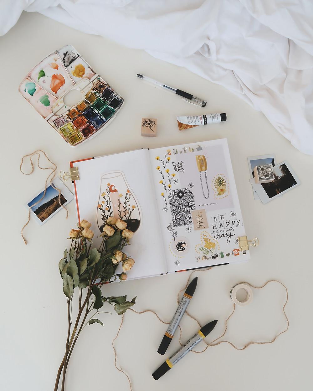 artist tools lying on floor