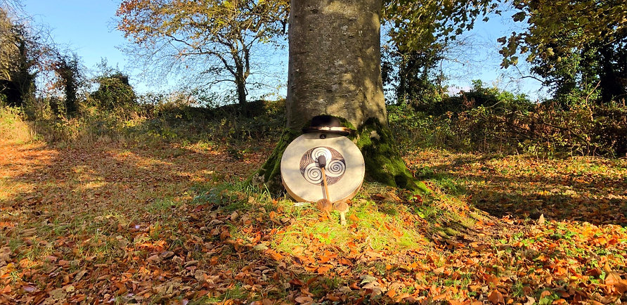 Shamanic Drum with Triple Spiral Under Tree