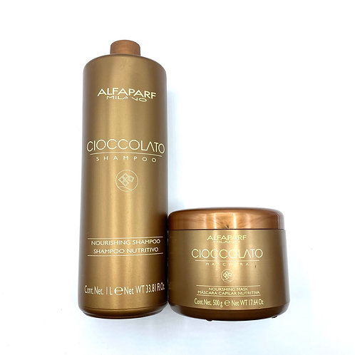 Cioccolato mask and shampoo by alfaparf.