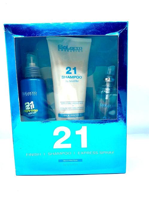 Salerm 21 Shampoo 300ml. Finish 125ml. Silk Protein 150ml.