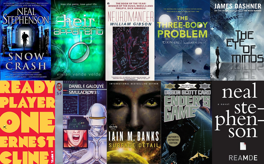 AR and VR scifi book cover collage