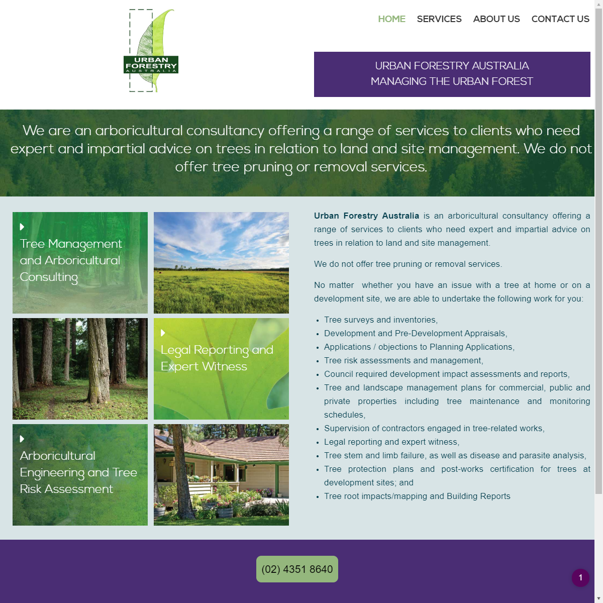 Urban Forestry Website Design and hosting