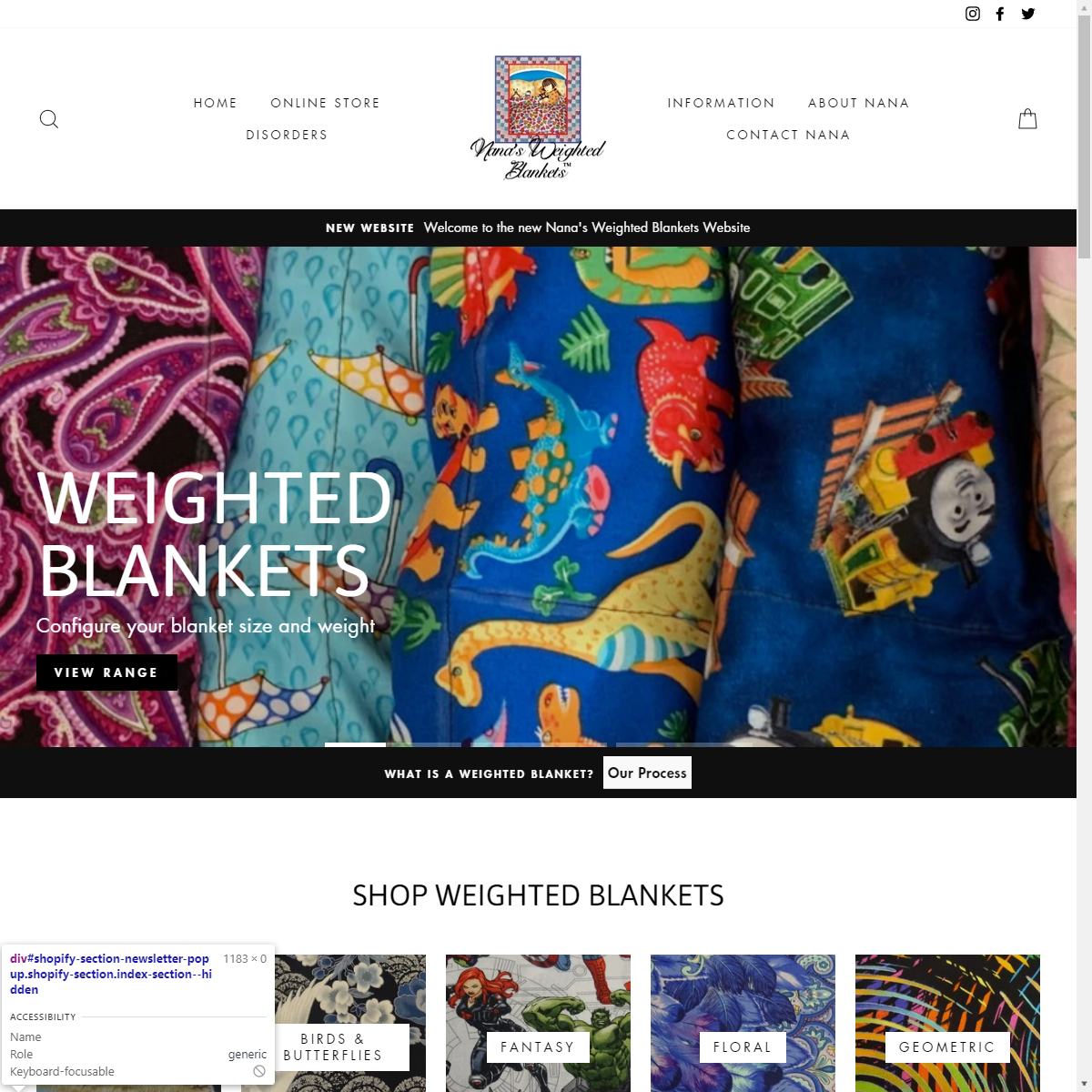 Nana's Weighted Blankets Website Design