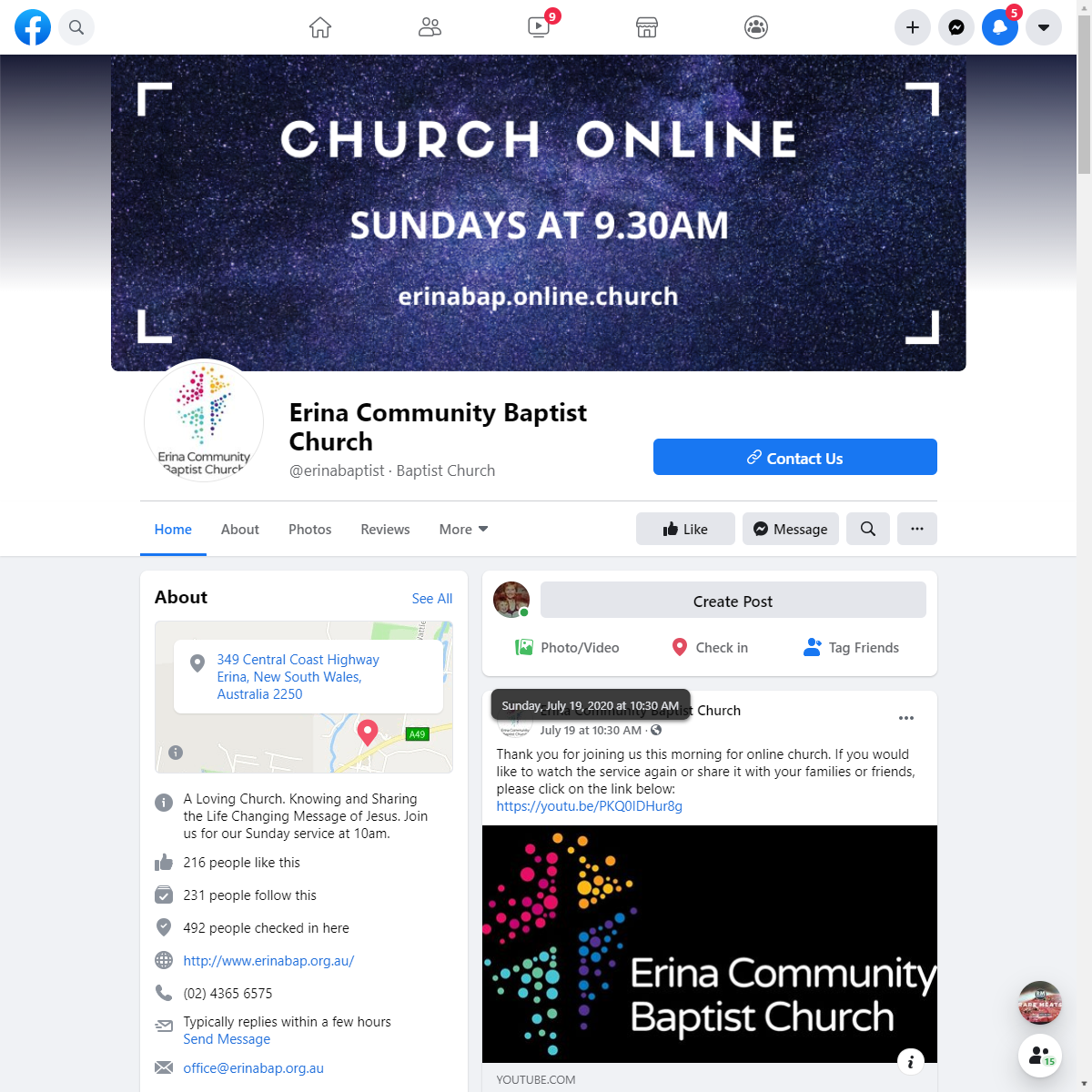 Erina Community Baptist Church Web Design and Hardware set up