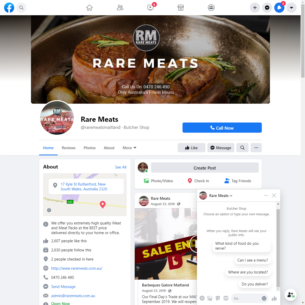 Rare Meats Web design and E-commerce.