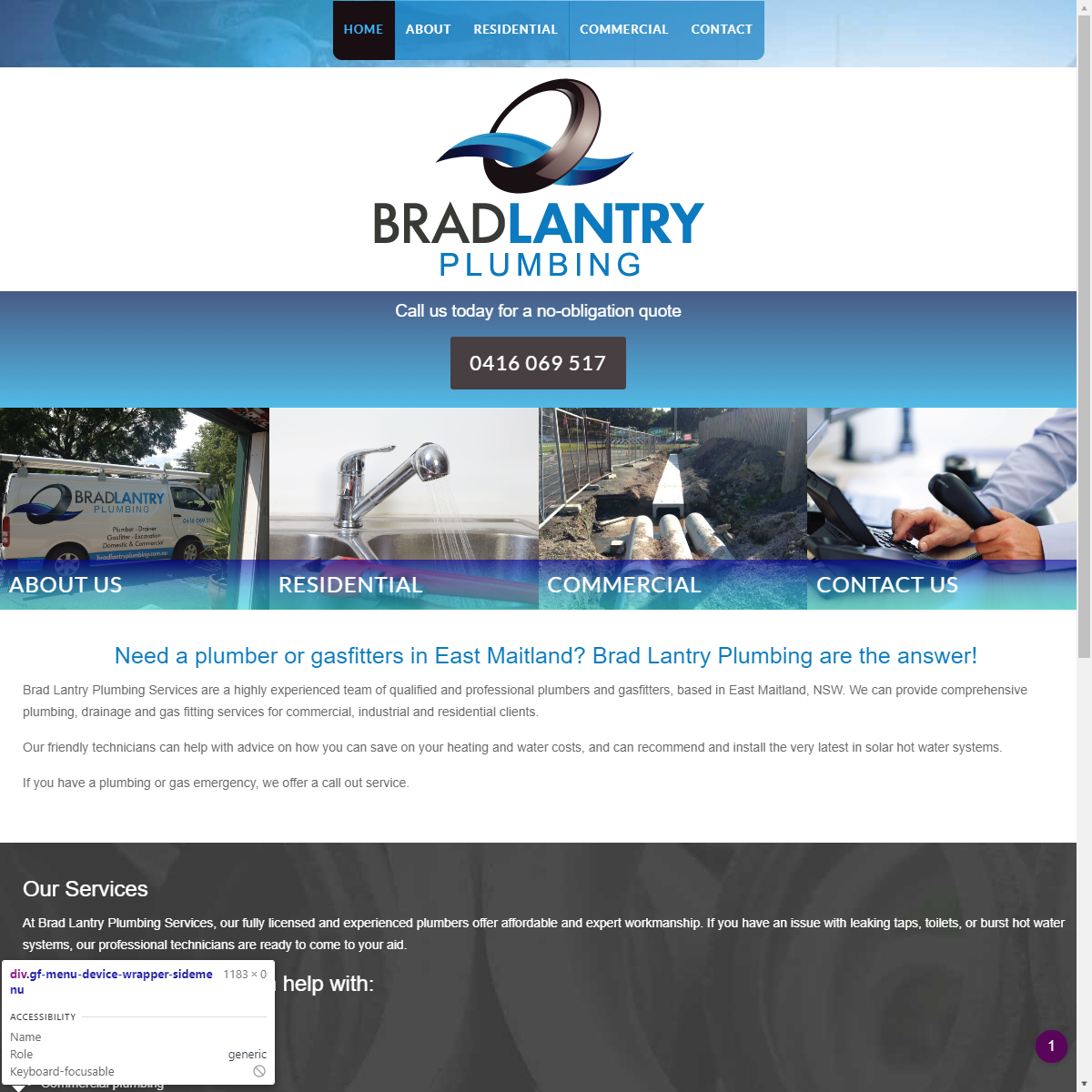 Brad Lantry Plumbing Web Design and Hosting