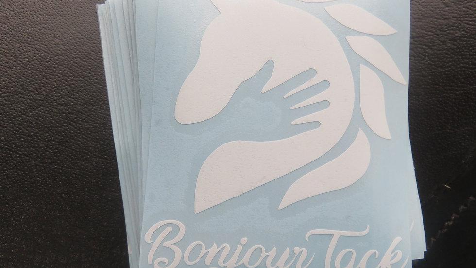 Bonjour Tack vinyl white sticker