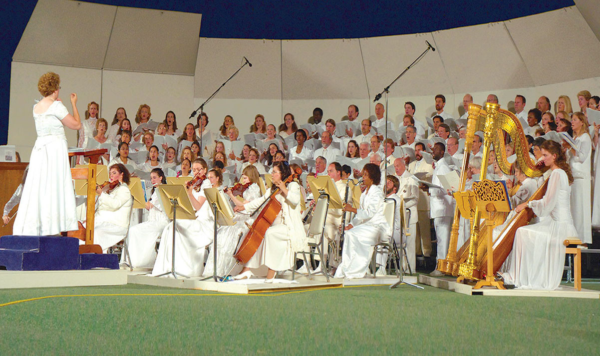 Choir and Orchestra performance each August in Mt. Shasta City, California