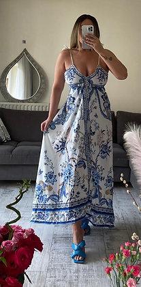 Scarf Print Summer Dress - Blue