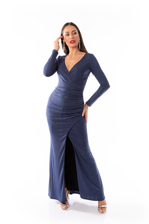Long Sleeve Wrap Dress - With Front Split
