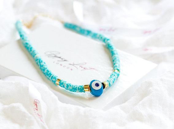 White & Blue Azure Eye Necklace