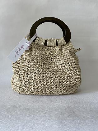 Beige Gold Straw Bag
