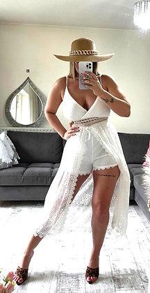 White Lace Playsuit Dress