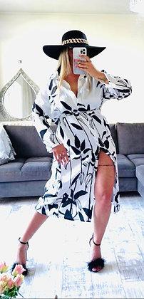 White & Black Floral Dress