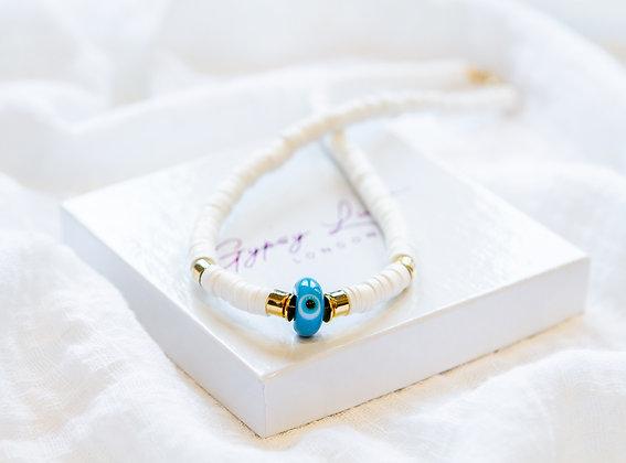 White Azure Eye Necklace