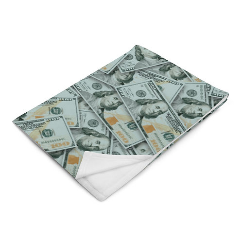 100 Dollar Bills Throw Blanket