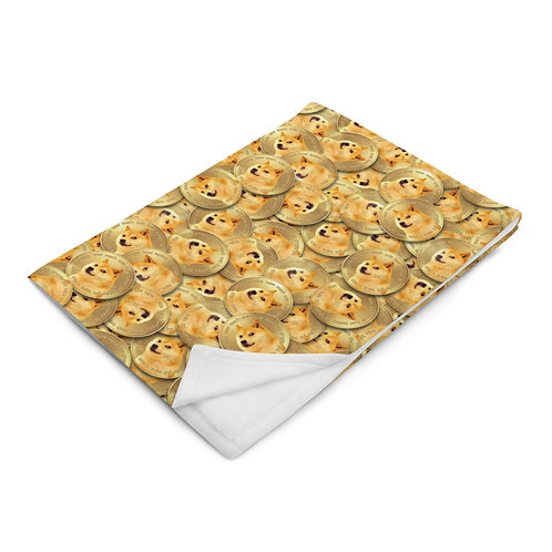 Cryptocurrency Dogecoin Throw Blanket