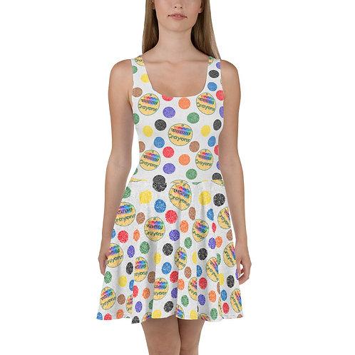 Crayon Polka Dots Skater Dress