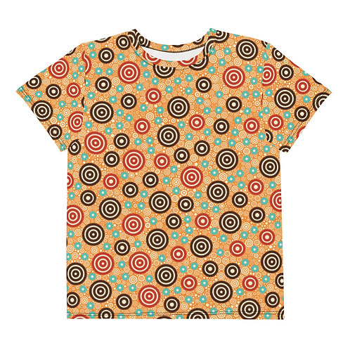 Youth All Over Aztec Warrior T-Shirt Gold