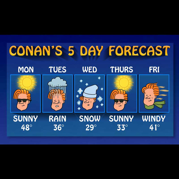 Conan 5- Day Weather Forecast Chart