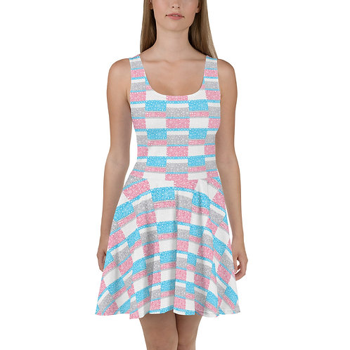 Unity Skater Dress Blue And Pink