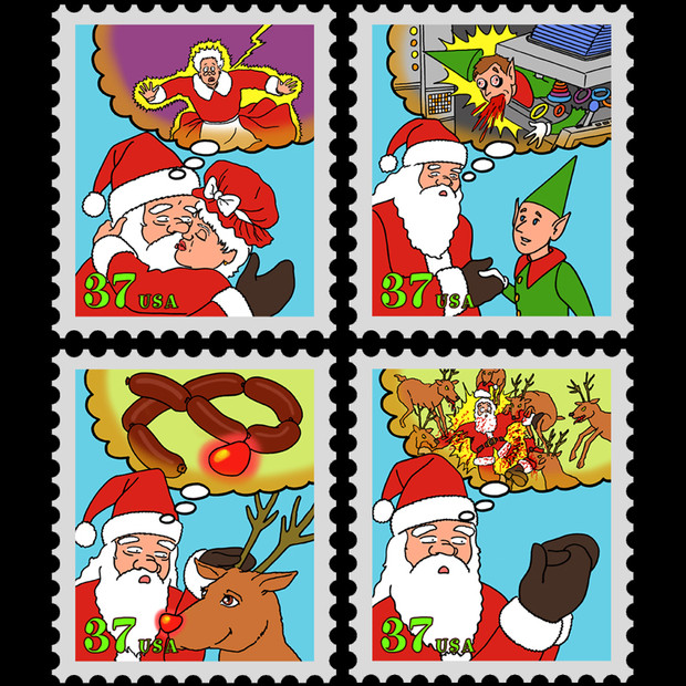 Precognition Santa Claus Stamps