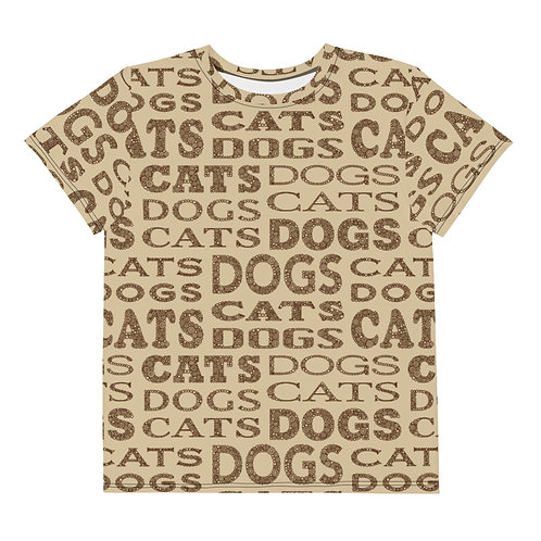 Youth All Over Cats And Dogs Type T-Shirt